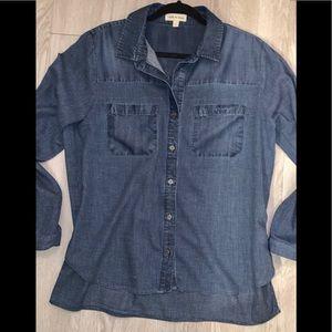 CLOTH & STONE cotton L button front blouse